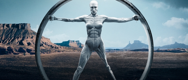 Westworld android in front od desert landscape