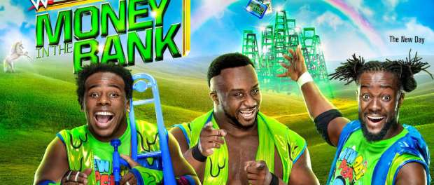 WWE Money in the ban poster with the New Day posing under a rainbow