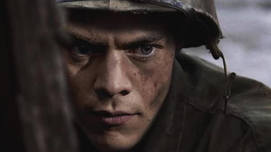 Harry Styles dressed as a soldier in Dunkirk