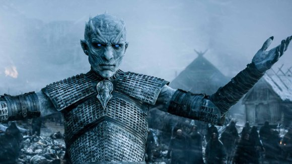 The Night King from Game of Thrones stands in front of his army