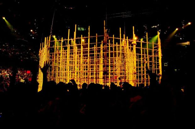 View of the Punjabi Prison cage from ringside