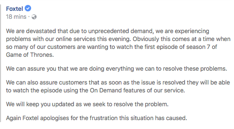 Foxtel posted an apology message on their Facebook page stating they are 'devastated' by the outage.