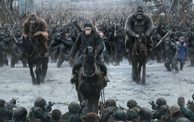 The army of apes led by Ceasar on horseback approach the human soldiers