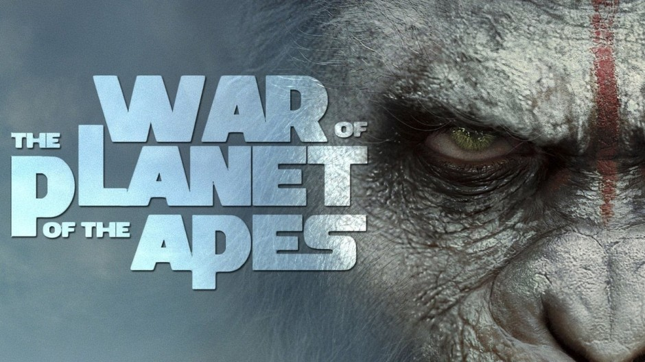 War for the planet of the apes poster with close up of Ceasar's face