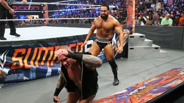 Rusev attacks Randy Orton