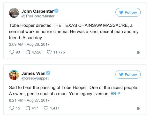 Tweets from John Carpenter and James Wan paying tribute to Tobe Hooper