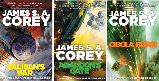 cover art from the first three Expanse novels