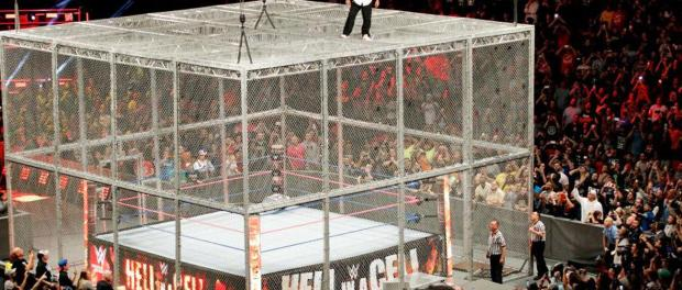 Shane McMahon contemplates a leap from the top of the cell