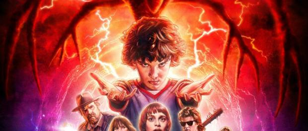 Stranger things season two poster featuring eleven with arm outstretched