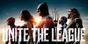 Justice league poster with the Flash, Wonder Woman, Batman, Cyborg and Aquaman