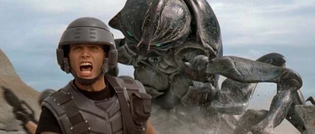 Johnny Rico screaming in front of a giant bug