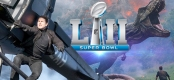 Montage featuring Tom Cruise hanging from a helicopter a dinosaur and the Super Bowl 52 logo