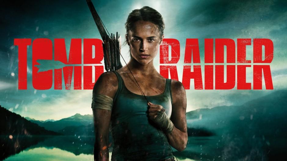 Alicia Vikander in character as Lara Croft