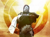 Jake Slater in a gas mask carrying his sick daughter across post apocalyptic landscape