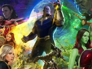 Avengers Infinity War artwork featuring Thanos in the centre surrounded by the Avengers.