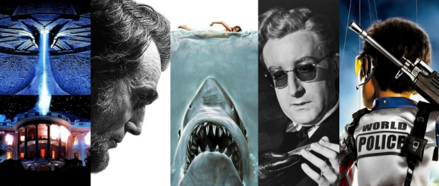 Montage of movies posters: Independenca Day, Lincoln, Jaws, Dr Strangelove, Team America