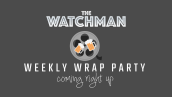 Weekly Wrap Party coming tight up logo featuring two beers clinking together and a film reel.