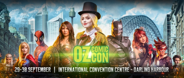 A series of Character in Coslpay ranign from Batman to Spidermand and Wonder Woman set in front of the Sydney Skyline