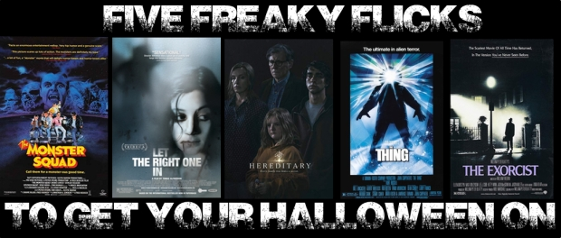 Five Halloween Movie Posters, The Monster Squad, Let The Right One In, Hereditary, The Thing, The Exorcist