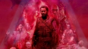 Poster art for Mandy featuring Nicholas Cage in heroic stance