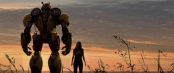 Bumblebee and Charlie standing silhouetted against the sunset