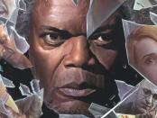Mr Glass peering through a shattered pane of glass where scenes from the film are reflected in the shards.