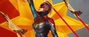 Propaganda style poster of Captain Marvel flying