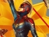 Propaganda style poster of Captain Marvel flying