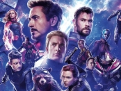 Collage of Avengers characters, Thanos, Captain Marvel, Ant Man, Hawkeye, Captain America, Rocket Racoon, Bruce Banner, Thor, War Machine.