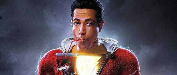Shazam drinking a slurpee