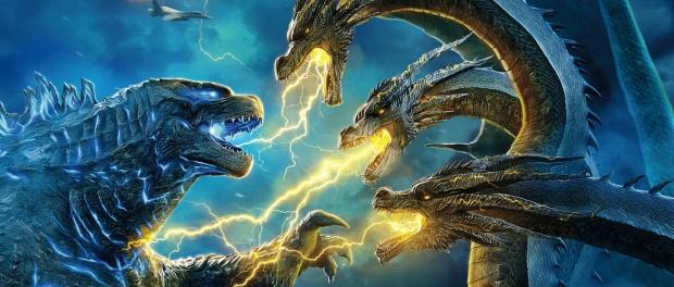 Godzilla fighting Ghidora