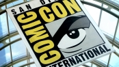 San-Diego Comic-Con International banner hanging from the convention centre ceiling.