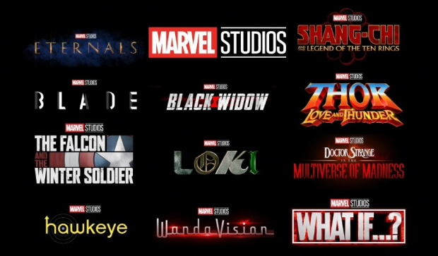 Marvel Phase 4 film logos. Eternals, Blade, That Falcon and Winter Soldier, Hawkeye, Black Widow, Loki, WandaVIsion, Shang-CHo, Thor, Doctor Strange, What If?