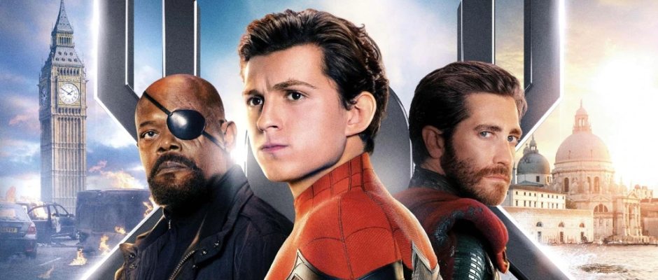 Collage of Nick Fury, Peter Parker and Quentin Beck in front of London and Venice skylines
