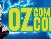 Lady Thor surrounded by lightning and the OzComicCon logo