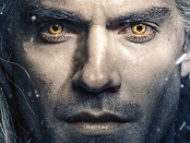A close up of Geralt of Rivia, highlighting his yellow eyes.