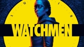 Sister Night stansing in front of a yellow doomsday clock with the Watchmen text in the foreground