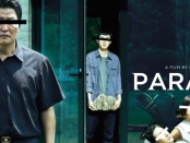 Parasite movie poster featuring the Kim family with their eyes blanked out.